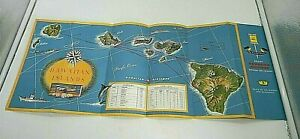 Vintage 50s Hawaiian Airlines Route Map Fold-out Douglas Viewmaster Convair 340