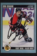 Dirk Graham Chicago Black Hawks Autographed 1992 Score #27 Hockey Card JSA 16H