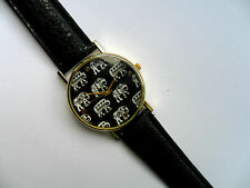 Very Smart Elephant Patterned Quartz Watch Black Strap