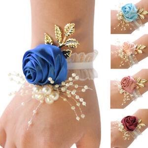 Wedding Bride Wrist Corsage Bracelet Bridesmaid Hand Pearl Flower Boutonniere UK