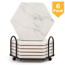 6Pcs Hexago Coasters for Drinks Absorbent w/ Holder Non-Slip Marble Pattern New