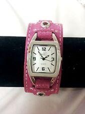 Rectangle analog watch wide fashion bracelet cuff band dark pink strap
