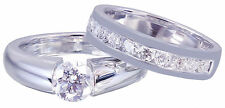 14k White Gold Round Cut Diamond Engagement Ring And Band Tension Bridal 1.20ctw
