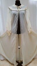 Vintage Ivory Chiffon Satin & Lace Trim Peignoir Robe Lingerie - Size M/L