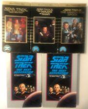 STAR TREK VHS LOT 5 Tapes The Motion Picture, Khan, Spock, Next Generation