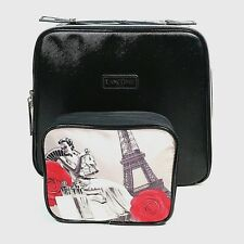 Lancome Paris Black Cosmetic Train Case Makeup Travel Bag Eiffel Tower Red Rose