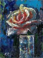 ACEO abstract rose flowers original painting acrylic canvas art card signed