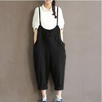 Women's Cotton BIB Pants Overalls Straps Jumpsuit Suspenders Rompers Trousers