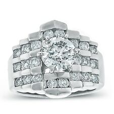 2.95ctw Channel Set Solitaire Diamond Engagement Ring in 14K White Gold.