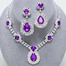Glitzy Glamour Purple Diamante Crystal Necklace Set Brides Bridesmaids Proms 242