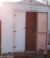 GOOD USED CONDITION VERY ROOMY SHED WHITE SIDING DOUBLE DOORS STORAGE MOTORCYCLE