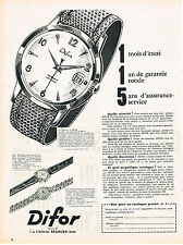 PUBLICITE ADVERTISING    1960   DIFOR  montre   de BESANCON