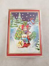 caspari christmas cards 25 happy new year snow trees sleigh teddy bears - Caspari Christmas Cards