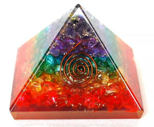 Reiki Energy Healing Large Chakra Orgone Orgonite Clear Quartz Crystal Pyramid