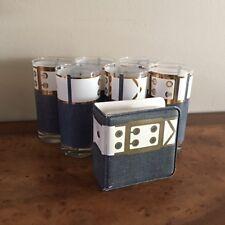 Cera Mid Century Blue Denim White Belt Barware 6 Pc Glasses Gold Trim W Coasters