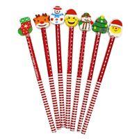50 Pcs Christmas Pencils and Erasers Set Christmas Pencils Assorted Erasers K3D1