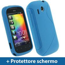 Blu Custodia TPU Gel per HTC Explorer A310e Case Cover Rigida Protezione