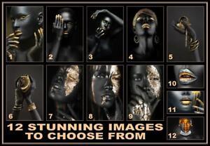African Black Woman Model Gold Makeup Lips Canvas Print Portrait Nude Wall Art