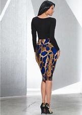 Venus blue embellished snake midi skirt - NWT - sizes S, M & L - beads at waist