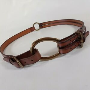 Lauren Ralph Lauren Leather Belt L 36 Equestrian Waist Hip Brown 428142652-236