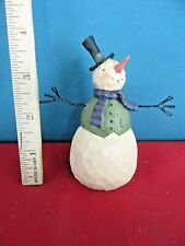 77. Small Wooden Snowman w. Wire Arms and Black Top Hat Figurine Teresa Kogut 07