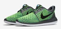 Nike Roshe Two 2 Flyknit 9.5 844833-004 Grey Blue Fluorescent Yellow Black