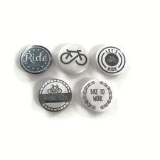 "1"" (25mm) Set of 5 BIKE Pin Back Badges. Made Australia"