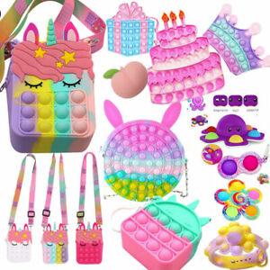 1-7Pcs Fidget Toy Popet Bubble Messenger Bag Coin Purse Sensory Stress Relief