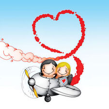 'Flying High' Cupids Birthday Card for him her couple in plane, red smoke heart
