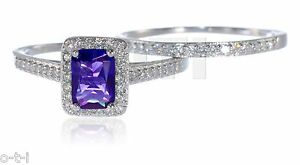 Emerald Cut Amethyst w/ White Sapphire CZ Engagement Sterling Silver Ring Set