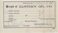1914 Eastern Oil Co. Receipt Bill Oaklawn Rhode Island RI Gasoline Kerosene