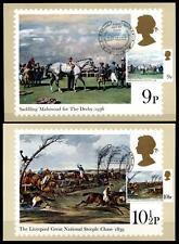 Pferde.Derby, Epsom.Gemälde von Pferderennen. 4Maximumkarten.Großbritannien 1979