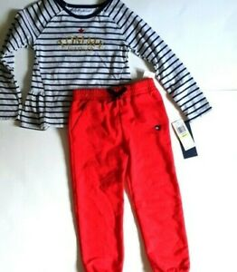 TOMMY HILFIGER Girl`s 2pc Outfit Long Sleeve shirt Pants BIG Logo