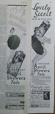 Lot of 2 1937 April Showers talc talcum powder tin vintage ads