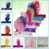 New Feather Sequin Elastic Hair Band Headband Dancing Party Headdress Christmas