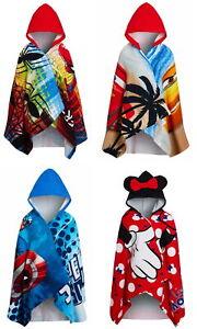 Kids Character Hooded Towel Boys Girls Marvel Disney Beach Poncho Bath Wrap