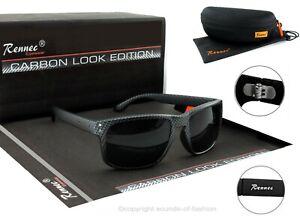 Rennec Herren Sonnenbrille Sport Carbon Look Nerd Rechteckig Schwarz 14CB BOX