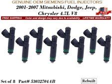 8 Fuel Injectors OEM SIEMENS for 01-07 Mitsubishi, Dodge, Jeep, Chrysler 4.7L V8