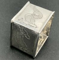 Chinese export silver square napkin ring dragon decorated 90