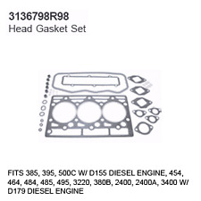 3136798R98 Case Tractor Parts Head Gasket Set IH 385, 395, 500C D155 3 CYLINDER