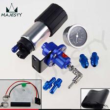 255 LPH EFI Fuel Injection Pump/Tank +140 PSI Pressure Regulator+Oil Gauge Blue
