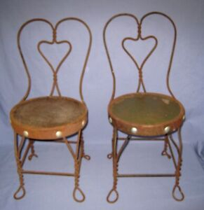 Vtg/Antique Lot 2 Ice Cream Parlor Chairs Twisted Leg Heart Metal Wrought Iron!