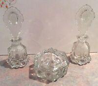 Vintage Glass 2 Perfume Bottles & Powder Jar Vanity Sets
