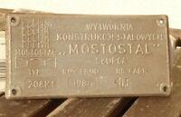 Lokschild, Fabrikschild,Typenschild Mostostal Polen von 1986 Herstellerschild