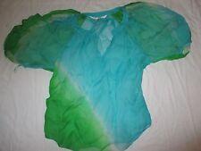 Diane Von Furstenberg Sheer Silk Blouse Top Ladies Size 8 Keoni Shirt Blue Green