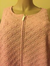 Carole Hochman Nightgown / Robe 3X Zip Front  Side Pockets Long Sleeves Pink