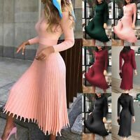 Womens Fashion Casual Dress Loose Long Sleeve Sweater Knit Solid Color Dress