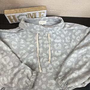MELLODAY Women's Lightweight Gray Cowl Neck Sweatshirt Size L