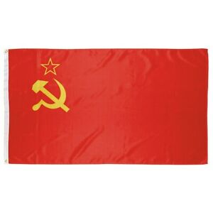 USSR Soviet Union National Flag - 90x150cm w/ Reinforcement Band and Metal Hooks