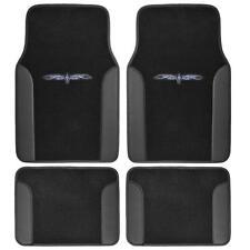 Car Floor Mats Carpet Tattoo Design 2 Tone Color Liner 4 Pc Black Secure Backing